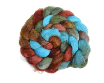 BFL 4 oz hand dyed roving, Combed Top, Blue Faced Leicester spinning fiber, green, aqua, burgundy, brown - Tranquility