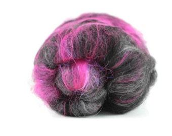 Carded Spinning Batt, Spinning Fiber, Alpaca, Merino, Bamboo, Silk and More, black, pink, angelina - Sweet 16 - 2 oz.