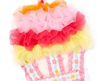 Cupcake Hair Clip, Girls Hair Clip, Birthday Hair Clip, Newborn Hair Clip, First Birthday Hair Clip, Pink Floral-Accent Cupcake Hair Clip