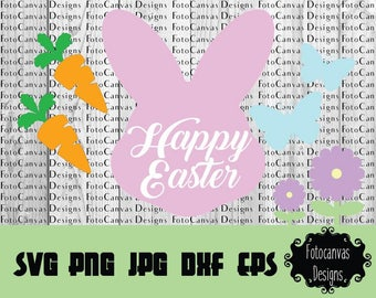 SALE! Happy Easter Bunny, Carrot, Butterfly, Flower, SVG, Cutting File, Silhouette Cameo, Cricut, Banner, Garland, Bunny Head, Spring