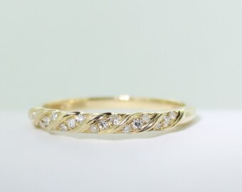 18ct yellow gold and 18 diamond wedding band  solid gold Certified FGAA