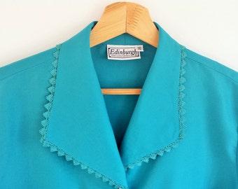 SALE | Vintage turqouise/blue long-sleeved blouse |  UK Size 16