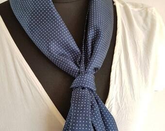 Silk polka dot scarf - navy blue & white -