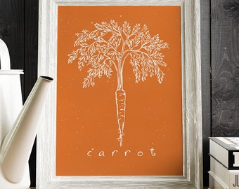 Carrot Art Print, Kitchen Poster, Modern Wall Art, Food Poster, Restaurants Decor, Kitchen Decor - 019