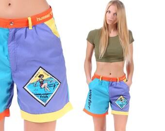Summer Beach Shorts 90s JOGGER Shorts Track Navy Blue Orange Atheletic Activewear Summer 90s Basketball Hip Hop Stretchy Medium
