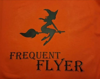 Halloween flying witch shirt, frequent flyer, orange, womens