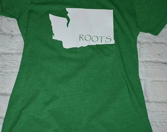 Custom tshirt, Washington state roots shirt, kelly green, can do any state to be cusotmized