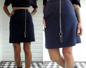 Navy black pinstripe Mini pencil skirt grunge goth high waist 90s cyber