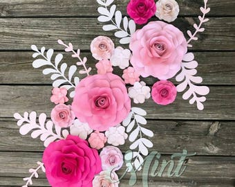 Paper Flowers, Roses, Personalized Wall Art, Shower Gift, Wedding, Decorative Flowers, Paper Roses