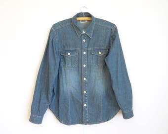 Blue Denim Shirt Men's/Vintage Denim Shirt /Metal Button shirt/  Men's Denim Shirt/ Work Denim Shirt/Size: Medium to Large