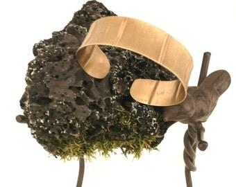 Narrow Foldformed NuGold Brushed Cuff Bracelet Modern Metal Artisan Handmade Metal Jewelry 21st Anniversary Gift