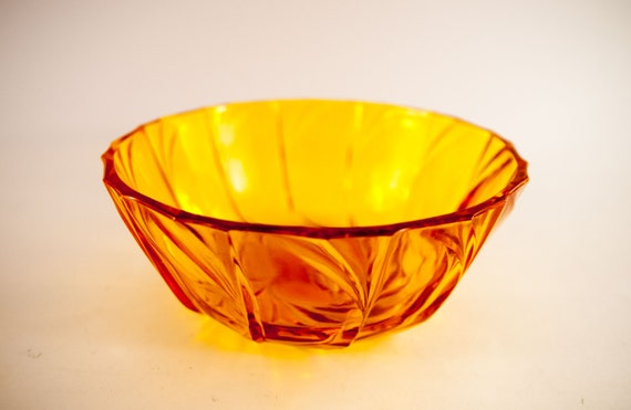 Decorative Bowl Glass Bowl Amber Glass Bowl Centerpiece Bowl Yellow Bowl Serving Dish Fruit Bowl Chips Bowl Popcorn Bowl Home Decor From