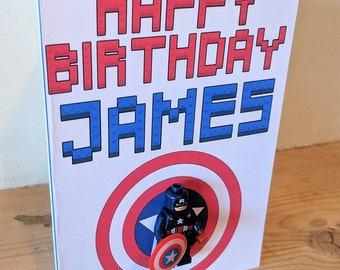Personalised Captain American Lego Inspired Birthday Card - Includes Figure!!