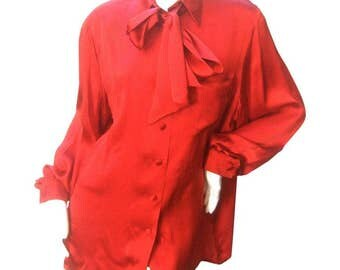 Hermes Paris Scarlet Silk Blouse. 1970's.