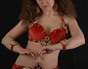 "Belly dance costume belly dance outfit ""Red royalty"""