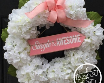 Hydrangea Wreath, White Wreath, Wreath Street Floral, Spring Wreath, Front Door Wreath, Everyday Wreath, Year Round Wreath, Wreath