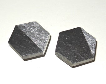 SLATE STONE – Hexagon Cabinet Knobs – Dipped Gold – Silver – Copper – Variegated Leaf – Stone Pulls - Home Décor