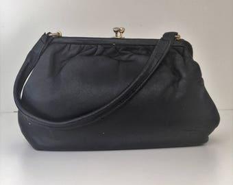 Vintage Single Handle Black Leather 'Kelly' Style Handbag - Golden Frame Handbag - LBF Frame Black Handbag