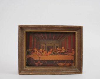 Vintage 3D The Last Supper Framed Lenticular Print - Leonardo DaVinci's The Last Supper Reproduction (SD448)