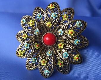 SALE ART Vintage Signed Flower Brooch, Vintage Flower Brooch, Flower Brooch, Flower Brooch, Vintage Pin