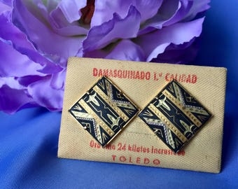 Vintage Damascene Clip Earrings with 24K Inlay Gold, Damascene Earrings, Clip Earrings, Vintage Damascene Jewelry