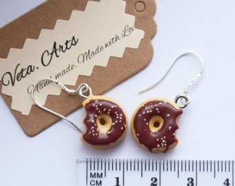 Chocolate donut earrings, polymer clay jewelry, fake sweets