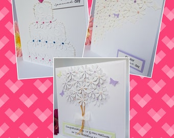 3D Flower Wedding Anniversary Marriage Couples Celebration Bouquet Cake Butterfly White Fancy Card Handmade WD07