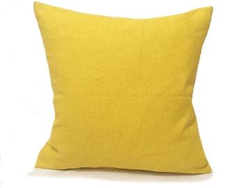 Plain Yellow Cushion- Bright Yellow- Yellow Pillow- Plain Pillows- Yellow  Throw Pillow