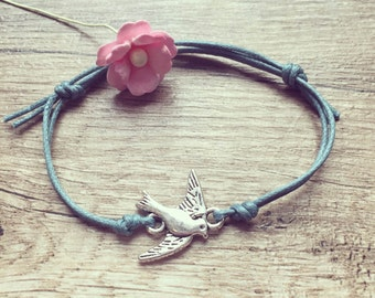 KL. swallow bracelet bracelet in petrol silver, stainless steel, swallow, blogger, vintage, statement,