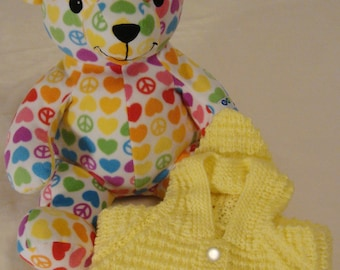 Gorgeous Yellow Hand Knit Hoody Sweater Cardigan with Melissa and Doug Peace Teddy Gift Set