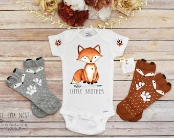 Little Brother Shirt, Little Brother Onesie®, Sibling Shirts, Fox Shirt, Fox Onesie®