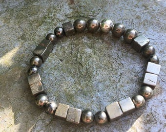 Gold iron pyrite bracelet sterling silver