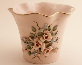 Vintage Lefton China Porcelain Bisque Vase 1030 Hand Painted Applied Flowers
