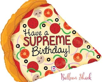 "Supreme Pizza Balloon- 29"" Foil Balloon- Food Balloon-Pizza Birthday Party-Pizza Decorations"