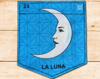 La Luna- Mexican Loteria Patch, The Moon Sticky Pocket Patches - Patch for Tshirts