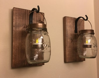 set of 2 mason jar lantern, Lantern, Entryway decor, Wall Scones, bathroom wall decor, living room decor, mason jar sconce, hanging lantern