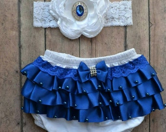 royal blue newborn bloomer - newborn bloomer - newborn headband - royal blue bloomer set - baby shower gift - baby girl gift - satin ruffles