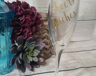 Wedding Glasses-- Wedding Accessories-- Cheers B*tches-- Champagne Glass-- Champagne Flute-- Funny-- Gold-- Gift For Friend