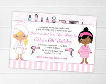 Spa Party Invitation Printable Spa Birthday Party Spa Invitation Birthday Party Invitation Girls Birthday Invitations, Party Invites