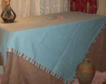 vintage tablecloth large bouquet of flowers, ribbons, applications