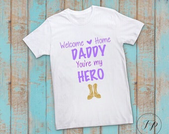 Girls Welcome Home Daddy Kids Tshirt or Long Sleeve  (Purple)
