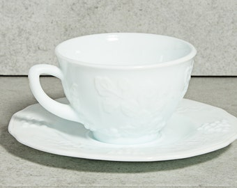 Milk Glass Harvest Grapes Cups and Saucers