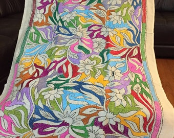 New Hand embroidered pure tusser silk stole