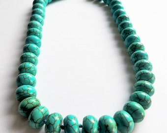 Turquoise necklace,Hand knotted jewellery// Bold Turquoise necklace// Gemstone jewellery// Turquoise rondelles necklace