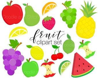 Fruit Clipart Designs, Colourful Fruity Clip Art Pictures, Tropical Food Vector Illustrations, Watermelon Pineapple Clipart