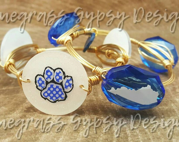 University of Kentucky Wire Wrapped Bangle set, Bracelet, Bourbon and Boweties Inspired
