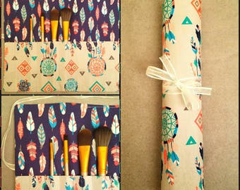 Makeup Brush Roll, Multi Color Feather & Dream Catcher Patterned Fabric