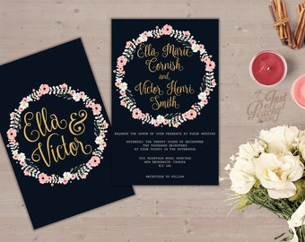 Digital Wedding Invitation | Floral Ring Invite | Printable | Customizable