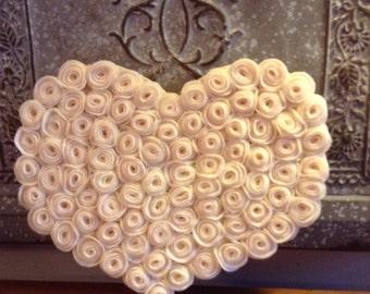 """Heart With Creamy Felt Roses   10""""x9""""x1"""""""