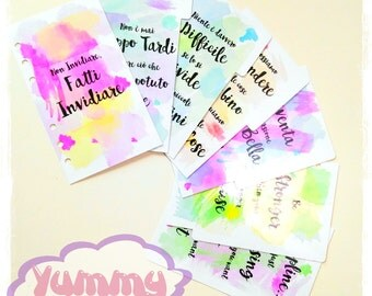 A5 Size Dividers - Watercolor Quotes Set 6pcs + Dashboard